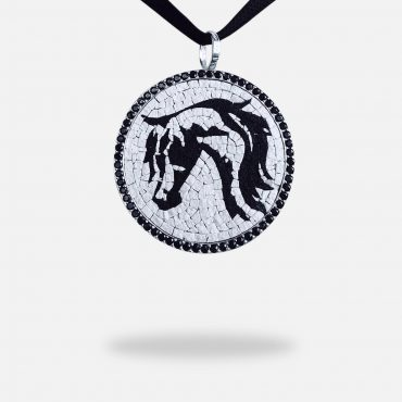 3 Circles Turquoise Micro Mosaic Necklace, silver gold plated and rough turquoise stone