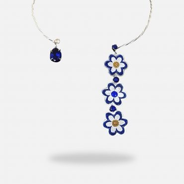 Trio Flowers Sapphire Handmade Micro Mosaic Necklace, silver gold plated with synthetic Sapphire stones