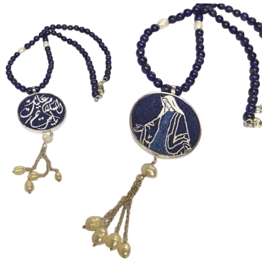 Virgin Mariam Double Sided Handmade Micro Mosaic Long Necklace, lapis stones with pearl Framed with silver gold plated