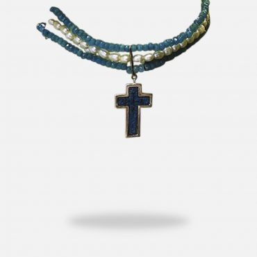 Cross Chocker Pearl & Blue Jade Micro Mosaic Necklace, double sided, silver gold plated with pearl and blue jade stones