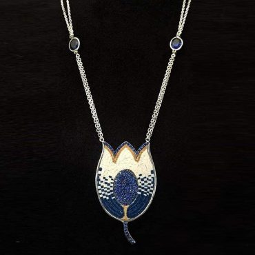 Tulip Shaped Blue Sapphire Stones Micro Mosaic Necklace, silver gold plated
