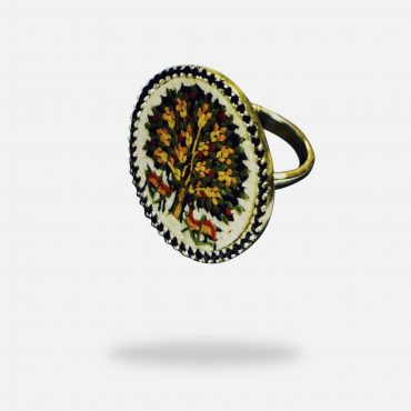 Tree of Life Ring, 2.5 cm. Silver gold plated and Onyx stones