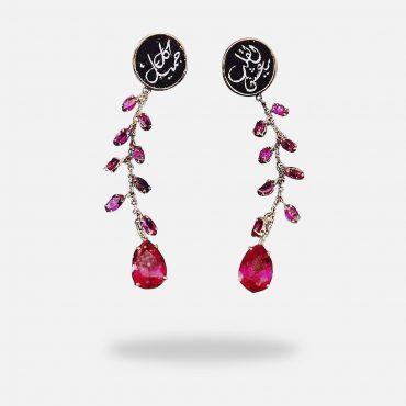Long Micro Mosaic Treated Ruby Earrings, silver gold plated