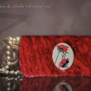 Red Rose Red Clutch Micro Mosaic