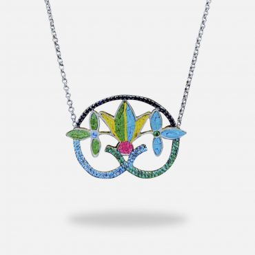 Colorful Jasmine Micro Mosaic Necklace, silver gold plated