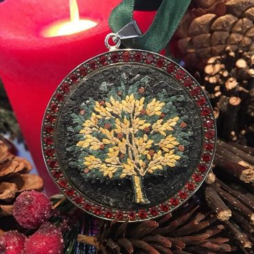 2 Level Tree of Life Micro Mosaic Pendant, silver gold plated and Natural Garnet stones
