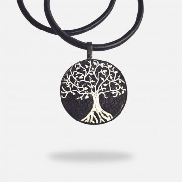 Olive Tree Micro Mosaic Jade Necklace, silver gold plated and red jade stones