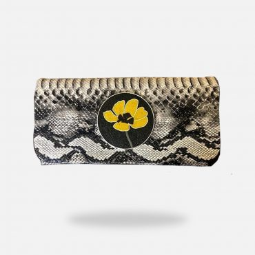 Snake leather clutch, Micro mosaic, silver gold plated