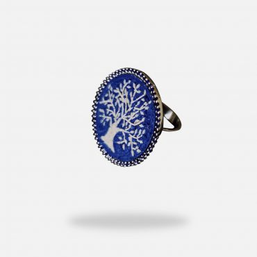 Blue Sapphire Olive Tree Micro Mosaic Ring, silver gold plated and treated blue Sapphire stones