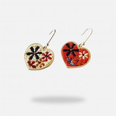Colorful Heart Shaped Micro Mosaic Earrings, silver golod polated