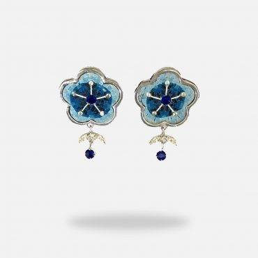 Flower Shaped Micro Mosaic Earrings, silver gold plated