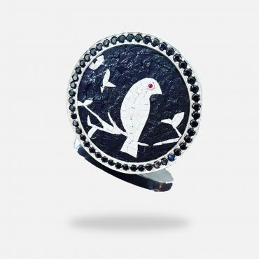 Bird on Tree Micro Mosaic Ring, silver gold plated and Onyx stones