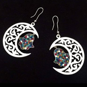Crescent Fatima's Hand Micro Mosaic Earrings, silver gold plated