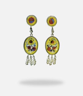 Flowers Micro Mosaic Earrings, silver gold plated