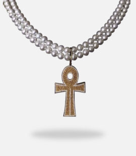 Double Sided Micro Mosaic Cross Pearl Necklace, 18k yellow gold and pearl