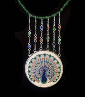 Peacocked Micro Mosaic Necklace, silver gold plated and green jade