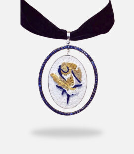 Rose 2D Oval Sapphire Micro Mosaic Pendant, silver gold plated and treated blue Sapphire stones