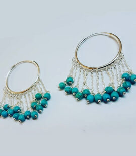 Turquoise Stone Earrings, silver gold plated