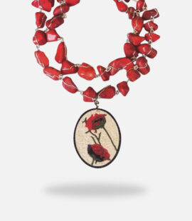 Rose Handmade Jade Stones Micro Mosaic Necklace, framed with silver gold plated and Onyx stones with free shape rough Jade stones