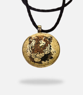 Tiger Face Handmade Micro Mosaic Pendant, silver gold plated