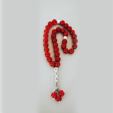 Red jade Rosary, silver gold plated