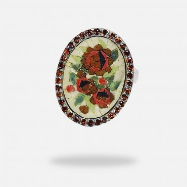 Roses Micro Mosaic Garnet Ring, silver white gold plated and Garnet stones