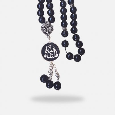 Words Handmade micro mosaic rosary, Onyx stones and silver gold plated