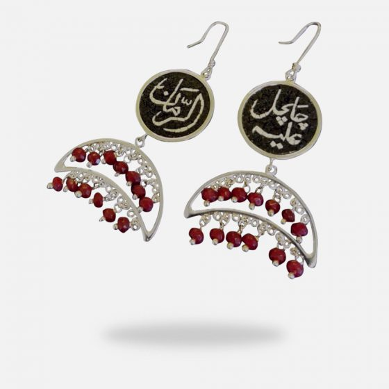 Dangling Ruby Crescent Handmade Micro Mosaic Earrings, silver gold plated and Ruby stones
