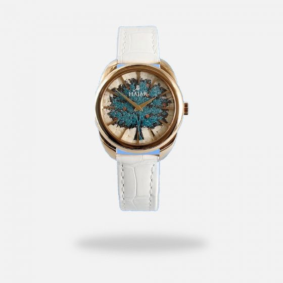 Blue Tree of Life Handmade Micro Mosaic White Gold Watch for Women, Made in Swiss