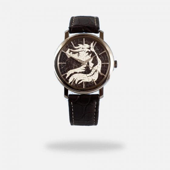 Horse Face Handmade Micro Mosaic White Gold Watch for Men, Made in Swiss