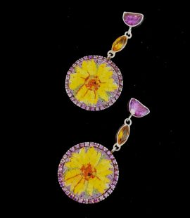 Sunflower Micro Mosaic Earrings, Silver Gold Plated, Amethyst and Citrin Stones