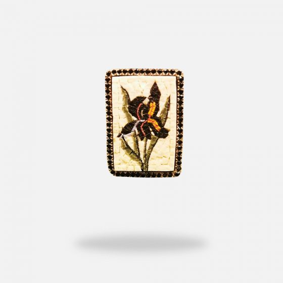 Black Iris Micro Mosaic Ring, silver gold plated and Onyx stones
